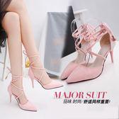 絨面高跟鞋女淺口尖頭鞋細跟綁帶鏤空涼鞋 東京戀歌