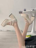 粗跟鞋 一字帶高跟單鞋女2020冬新款韓版百搭粗跟方頭法式復古瑪麗珍鞋潮 小天使