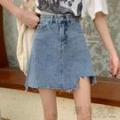 2020夏季新款港味不規則牛仔半身裙子復古包臀高腰A字顯瘦短裙女