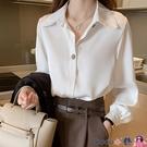 熱賣垂感襯衫 設計感小眾雪紡上衣白色襯衫女春夏新款韓版職業工作服垂感白襯衣 coco