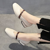 春季新款方頭粗跟中跟復古奶奶鞋一字扣單鞋韓版女鞋高跟鞋女【居享優品】