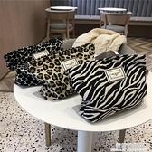韓國時尚豹紋斑馬紋化妝包洗漱包女士手袋手拿包便捷大容量收納袋 極簡雜貨