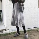 百摺裙 素色 絲絨 及膝裙 百搭 鬆緊腰 A字裙 百摺裙 長裙【YF926】 BOBI  12/20