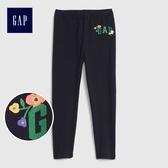 Gap女嬰幼童 Logo彈力針織打底褲 497818-海軍藍色