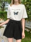 休閑褲女夏季寬鬆顯瘦直筒黑色時尚氣質短褲潮