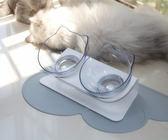 貓碗雙碗保護脊椎寵物狗盆狗碗貓盆貓食盆貓糧飯盆碗斜口碗貓碗架