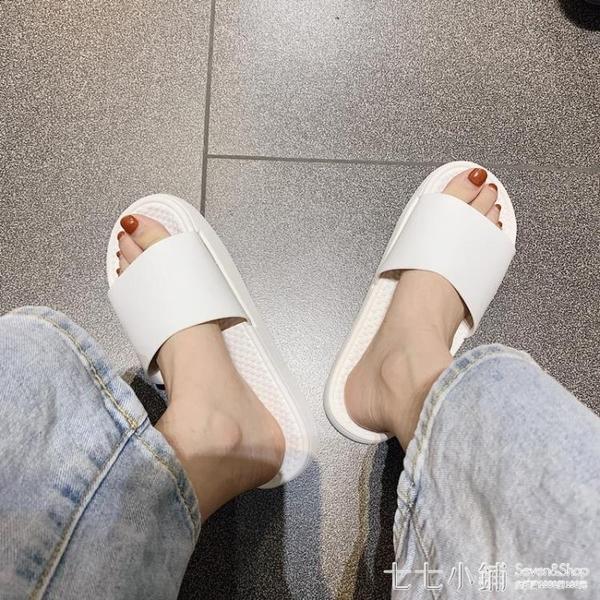 簡約日系網紅ins厚底拖鞋女夏外穿居家用軟底情侶沙灘涼拖