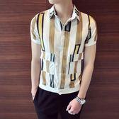 時尚港風短袖襯衫男韓版修身精神小伙社會人寸衫半袖薄款襯衣    蜜拉貝爾