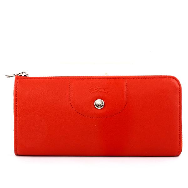 【LONGCHAMP】小羊皮L型長夾(磚紅色) 3418737A29