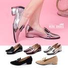 [Here Shoes]紳士鞋-MIT台灣製個性學院風尖頭亮皮包鞋低跟樂福鞋紳士鞋─KIPW712