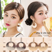 耳環 Space Picnic 圓形簍空金屬面耳環(現貨)【C17072072】