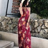 *魔法之城*L33167複古露背紅色沙灘裙海邊度假巴厘島吊帶長裙