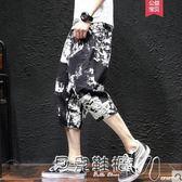 七分褲男花褲子夏季七分褲男士加肥加大碼寬鬆短褲夏天青年韓版潮流 貝兒鞋櫃