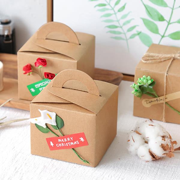 【BlueCat】DIY手工花草乾燥花棉繩風牛皮色正方形手掌型禮品盒 包裝盒