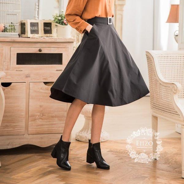 【EIIZO】A字及膝口袋圓裙(黑)