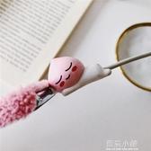 韓國可愛屁桃數據線保護套 iPhone充電線保護殼 耳機線咬一口可愛 藍嵐