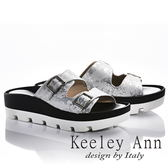 ★2018春夏★Keeley Ann美式嬉皮~個性暈染真皮軟墊厚底拖鞋(白色)