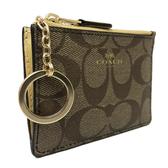 【COACH】經典C LOGO PVC皮革零錢包鑰匙包悠遊卡(鵝黃)