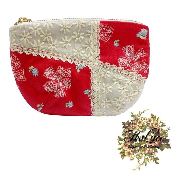 【HaLace創意手工拼布包】紅方格蕾絲拼接零錢包
