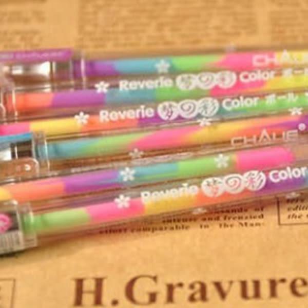[24hr-現貨快出] 【筆紙膠帶】迷幻物語6色彩虹旋轉螢光水性筆/變色筆
