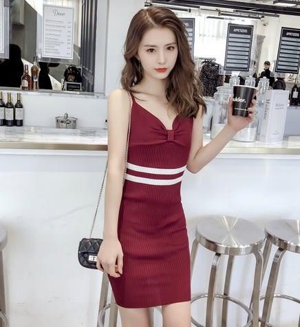 EASON SHOP(GU6170)V領蝴蝶結設計低胸雙條槓槓中長款長版針織坑條吊帶裙連身裙女洋裝韓版背心裙