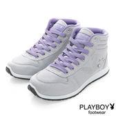PLAYBOY玩美風采~亮蔥拼接內增高休閒鞋-灰(女)
