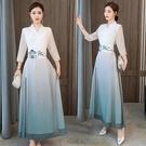 漢服改良中國風文藝復古禪意茶服女收腰古裝仙女連衣裙夏