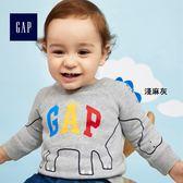 Gap男嬰兒 Logo系列可愛妙趣舒適圓領長袖休閒上衣 373238-淺麻灰