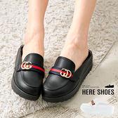 [Here Shoes]拖鞋-MIT台灣製 4.5cm厚底 皮質包頭涼拖鞋 經典條紋配色 素色純色百搭款-KTW7786