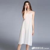 內搭襯裙 洋裝內搭春新款女 雪紡純色吊帶裙 中長款打底裙防走光襯裙 雙十二全館免運