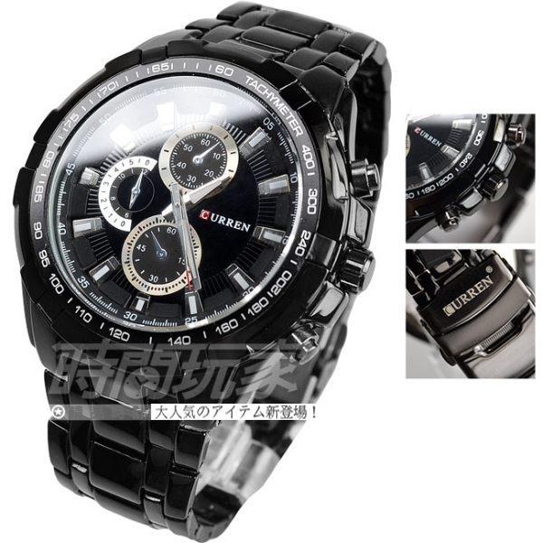 CURREN 仿三眼格調設計 黑色 不鏽鋼錶帶 男錶 CU8023黑 韓國 韓版 正韓 韓系 雅痞