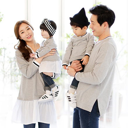 韓版學院灰色V領長袖上衣親子裝(女大人)