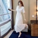 氣質洋裝 雪紡白連身裙夏女收腰法式顯瘦氣質長裙裙子仙女超仙森系-Ballet朵朵