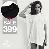 SISI【T8039】現貨歐美街拍時尚大U領寬鬆短袖中長款顯瘦T恤上衣