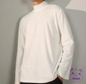 衛衣 半高領長袖T恤男寬鬆冬季衛衣加絨白色黑色打底衫時尚內搭潮上衣