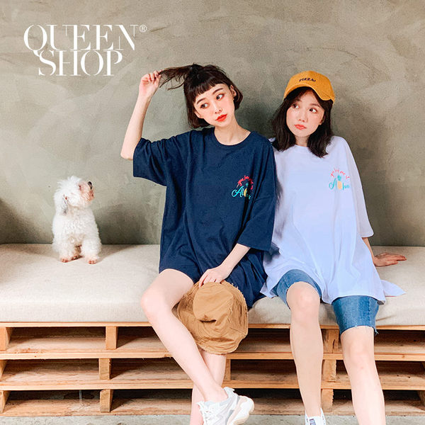 Queen Shop【01084553】鳳梨字母印花寬鬆短袖洋裝 兩色售*現+預*