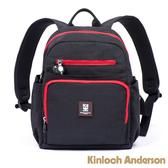 【金安德森】極簡耀色 防潑水多功能夾層小款後背包-低調黑紅