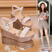 楔型涼鞋 羅馬涼鞋女仙女風夏季新款韓版百搭松糕跟厚底時尚高跟鞋 限時優惠 快速出貨