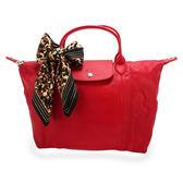 LONGCHAMP小羊皮短提把中型手提肩背兩用水餃包(紅色-含帕巾)480193-045