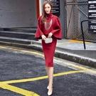 【限時下殺79折】中大尺碼晚禮服裙兩件式套裝包臀酒紅色尾牙禮服洋裝dj
