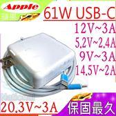 APPLE 充電器 61W以下適用-蘋果 TYPE-C接口,14.5V/2A,9V/3A,5.2V/2.4A,12V/3A,A1706,A1708,USB-C接口
