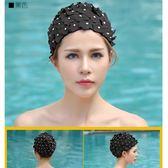 泳帽新款跳水珍珠立體手工花朵泳帽女成人 貝芙莉女鞋