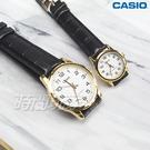 CASIO卡西歐 休閒時尚簡潔大方數字真皮情人對錶 情侶 金x黑皮帶 MTP-V001GL-7B+LTP-V001GL-7B