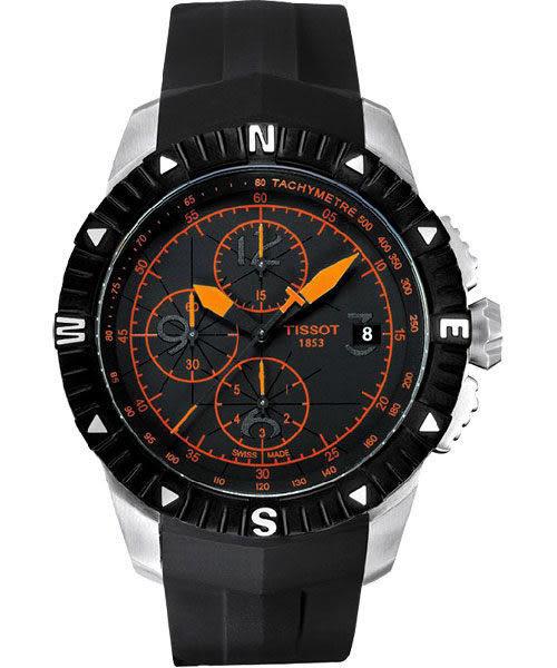 TISSOT 天梭 T-Navigator 霸氣型男計時機械手錶-黑/橘時標/橡膠 T0624271705701