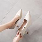 網紅法式少女高跟鞋女小清新軟皮單鞋細跟尖頭貓跟黑色工作鞋中跟 阿卡娜