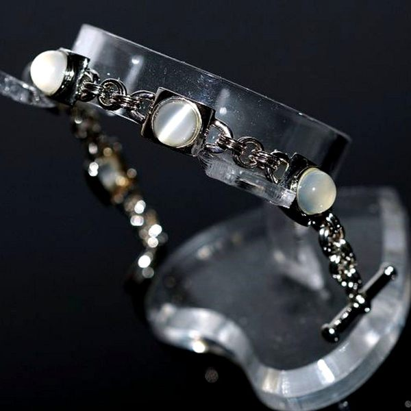 【喨喨飾品】貓眼月光石純銀手鍊 N335