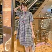 孕婦洋裝 孕婦夏季新款上衣2020小個子時尚復古中國風旗袍式盤扣格紋洋裝 LW170