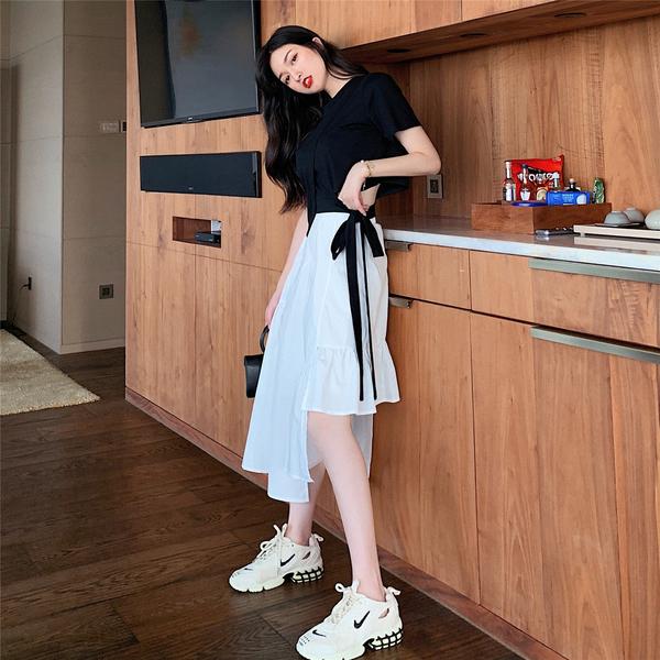 超殺29折 韓國風短款上衣搭不規則半身裙套裝短袖裙裝