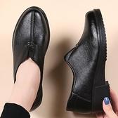 媽媽鞋單鞋厚底楔形中老年女皮鞋中跟防滑厚底中年百搭