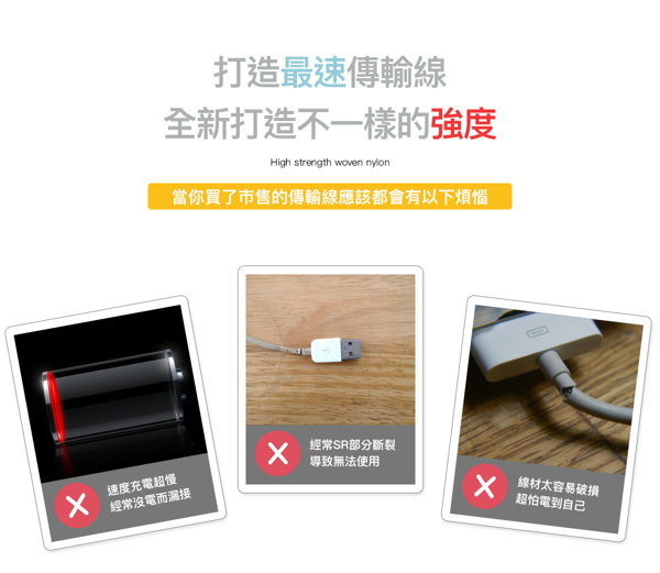 Rival Micro USB 200cm超耐折 編織 閃電快充 充電線 傳輸線 可達3A